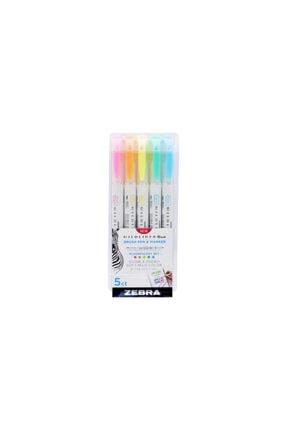 Zebra Mildliner Brush Pen Fırça Uçlu Çizim Kalemi Seti 5'li Pastel Renkler