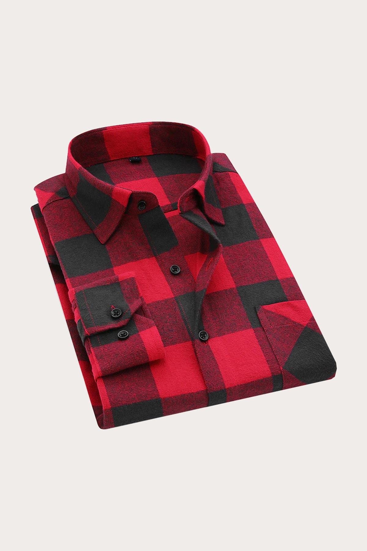 Ottomoda Erkek Oduncu Gömlek Kırmızı Ekoseli 2