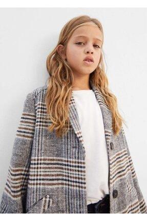 MANGO Kids Kız Çocuk Gri Kareli Palto