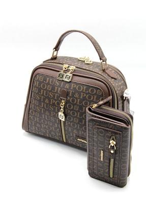 Just Polo Kadın Kahverengi Çanta Cüzdan Kombin
