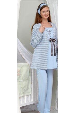 Haluk Bayram Hırka Sabahlıklı Lohusa Pijama Takımı - Mavi 3003