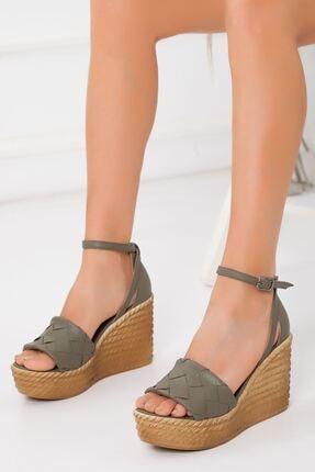 derithy Kadın Haki Dolgu Topuklu Ayakkabı