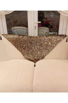 goblenlife Pullu Payetli Gold Püsküllü Koltuk Şalı