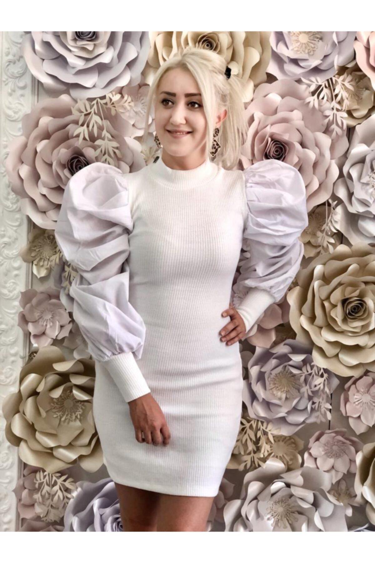 Nazsu Fashion Kolları Volanlı Triko Elbise 1