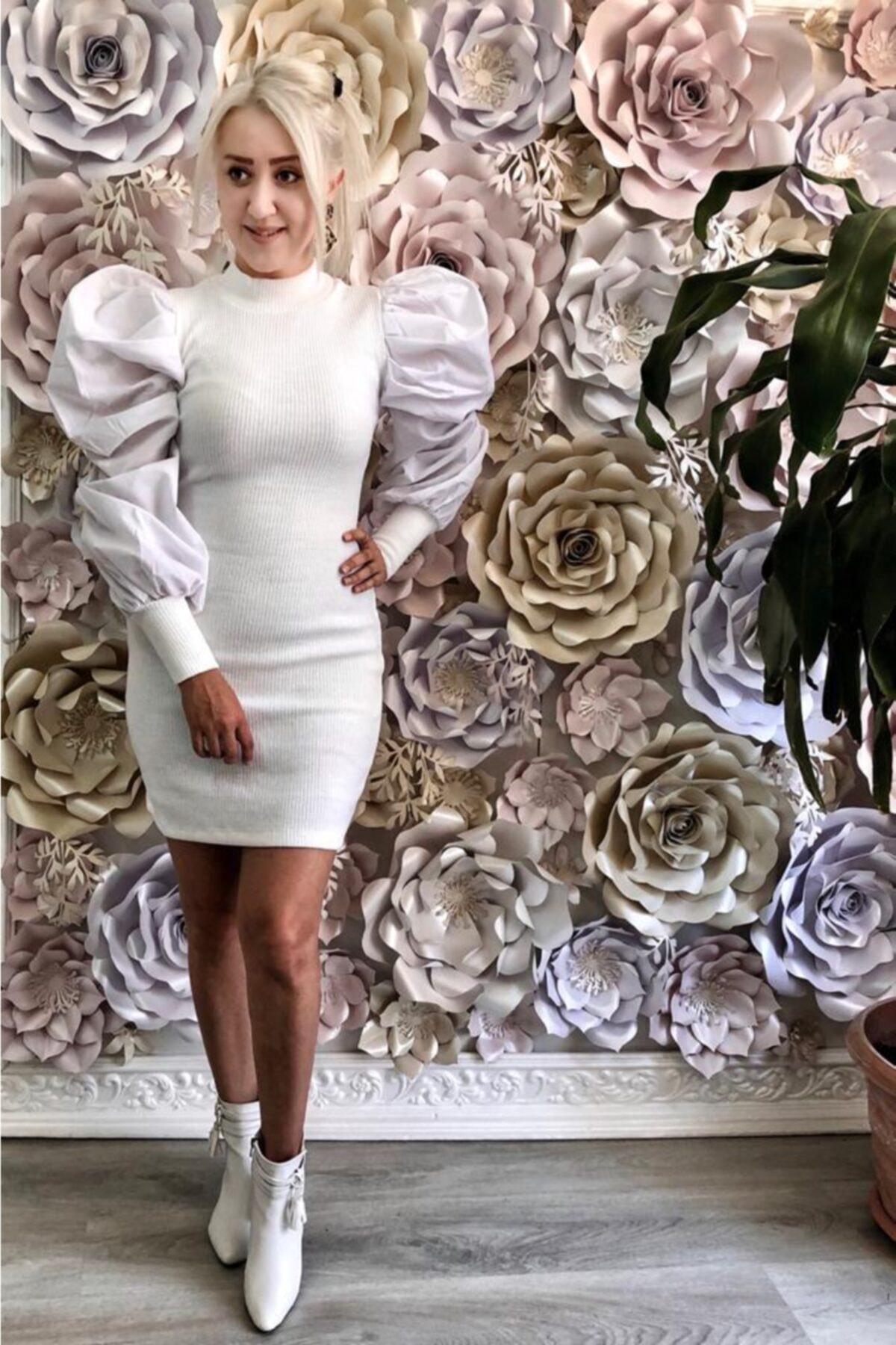 Nazsu Fashion Kolları Volanlı Triko Elbise 2