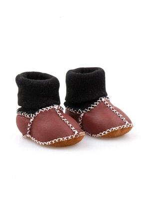 Pegia Unisex Bebek Bordo Hakiki Kürklü Çoraplı Patik 141112