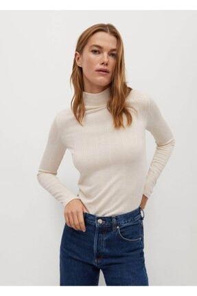 MANGO Woman Kadın Beyaz Uzun Kollu Fitilli Tişört