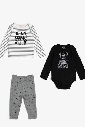 Koton Erkek Bebek Siyah Desenli Bebek Takımları 0KNB14259OK