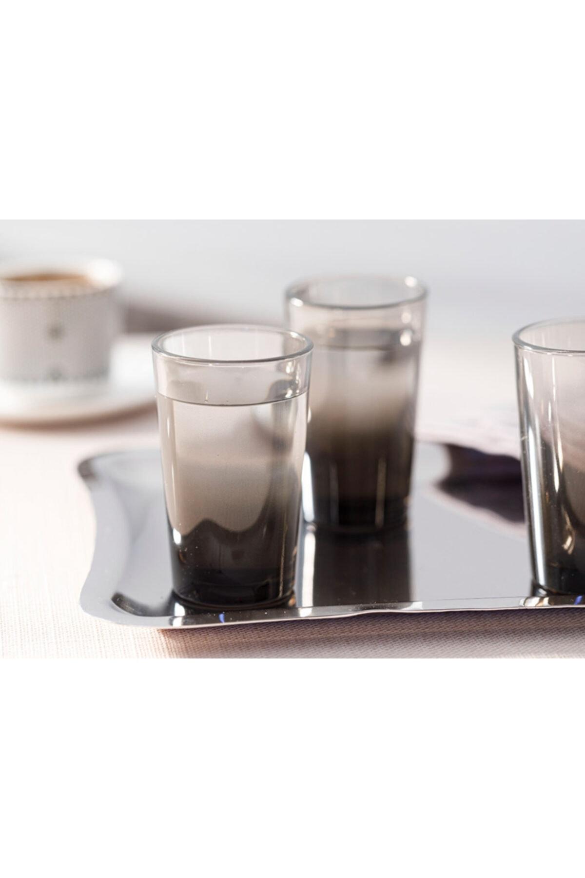 English Home Denise Cam 6'lı Kahve Yanı Su Bardağı 100 Ml Siyah 1