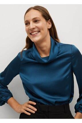 MANGO Woman Kadın Mavi Yüksek Yakalı Saten Bluz