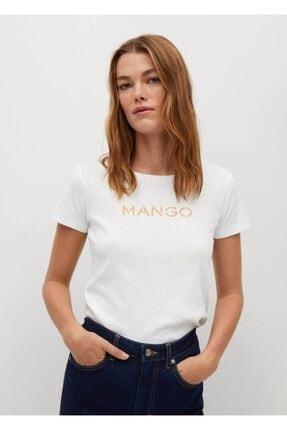 MANGO Woman Kadın Beyaz Organik Pamuklu Logolu Tişört