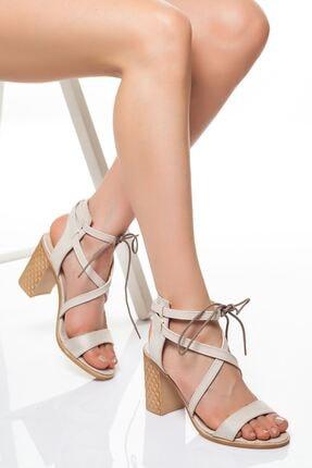 derithy Kadın Bej Süet Klasik Topuklu Ayakkabı