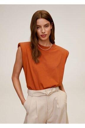 MANGO Woman Kadın Kahverengi Vatkalı Tişört