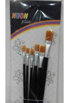 inci paketi Neon Plus Np Kd-103 6 Lı Kesik Uc Fırça Seti Resim Fırçası Yağlı Boya