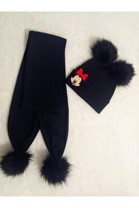 damlakids Ponponlu Minnie Mouse Atkı Bere Takım Siyah