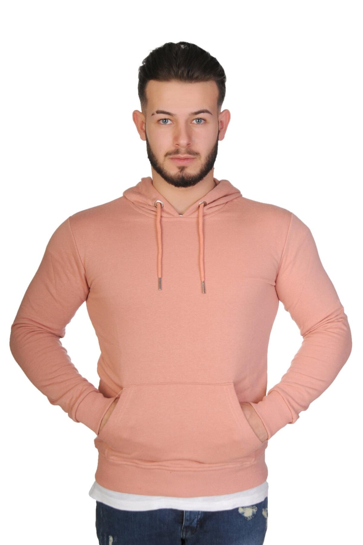 Baresse Collection Erkek Pudra Kapüşonlu Kanguru Cepli Sweatshirt 2