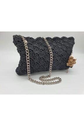eblack Kadın Siyah El Örmesi Çanta