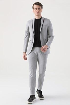 D'S Damat Twn Slim Fit Gri Düz Takım Elbise