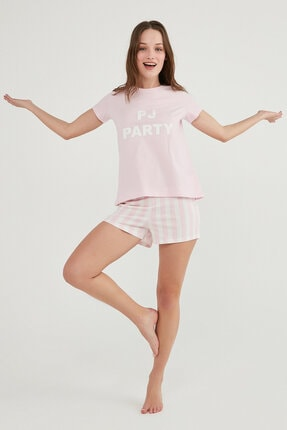 Penti Kadın Pembe Base Paty Ss Şort Pijama Takımı