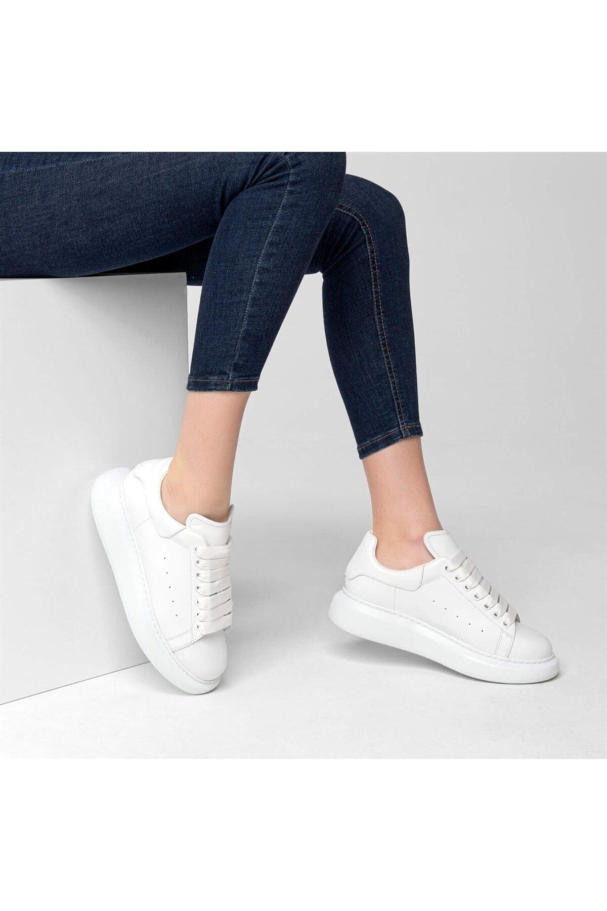 Flower Kadın Beyaz Deri Yüksek Tabanlı Spor Ayakkabı 2