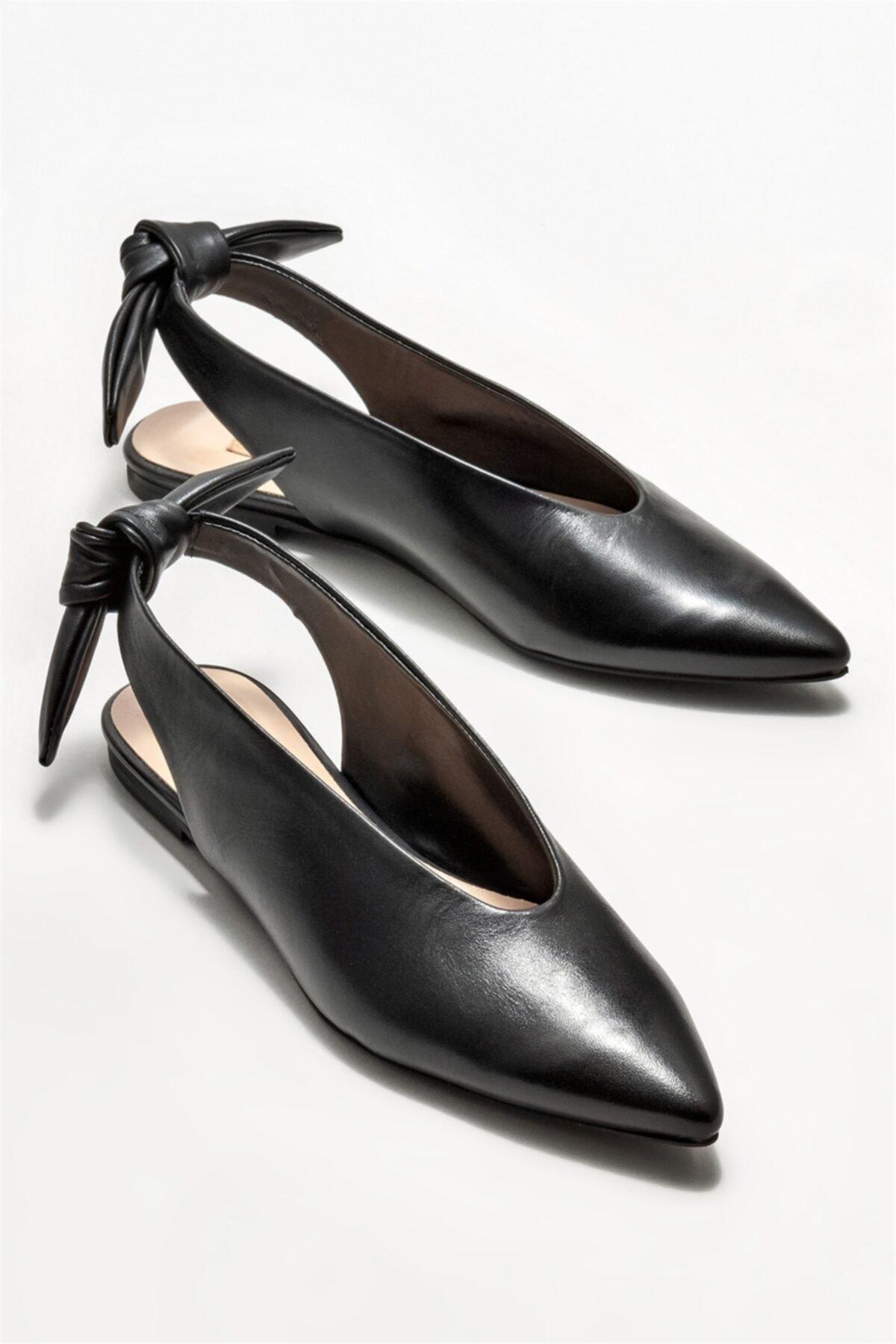 Elle Shoes Kadın Siyah Deri  Babet 2