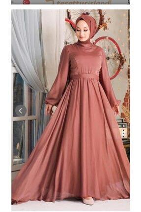Altay Tesettürlü Abiye Elbise - Pudra Balon Kol Taş Tesettür Abiye Elbise Spl-x1