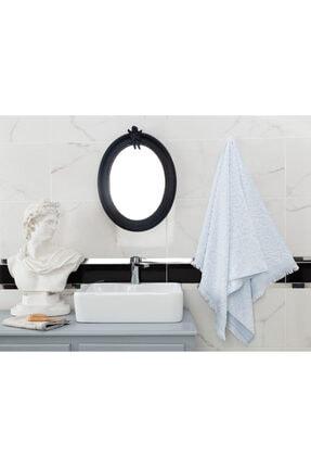 Madame Coco Aceline Jakarlı Banyo Havlusu - Mint / Beyaz - 70x140 Cm