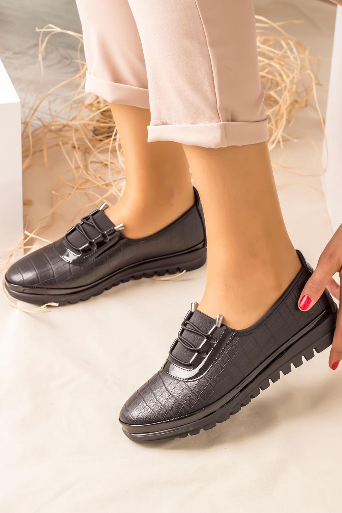 Lal Shoes & Bags Areca Parlak Ortopedik Rahat Kadın Ayakkabı-siyah 1