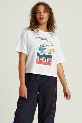 Levi's Graphıc Boxy Tee Snoopy Torch Runner Wh