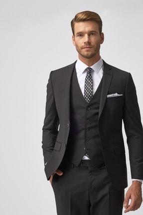 ALTINYILDIZ CLASSICS Erkek Siyah Slim Fit Dar Kesim Düz Siyah Su Geçirmez Yelekli Nano Takım Elbise
