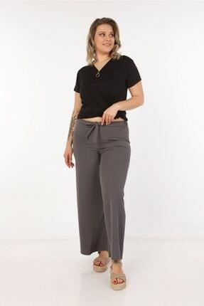Womenice Kadın Gri Kurdelalı Bol Paça Pantolon