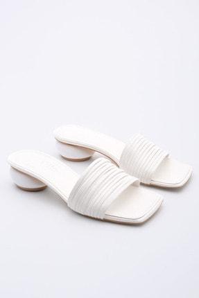 Marjin Kadın Beyaz Rugan Topuklu Terlik Kunve