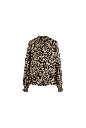 Tchibo Kadın Siyah Leopar Desenli Bluz