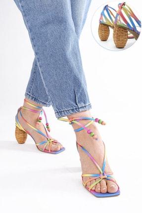 Marjin Kadın Pembe İpli Topuklu Sandalet