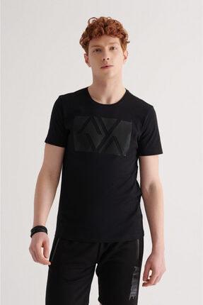 Avva Erkek Siyah Bisiklet Yaka Baskılı T-shirt A11y1069