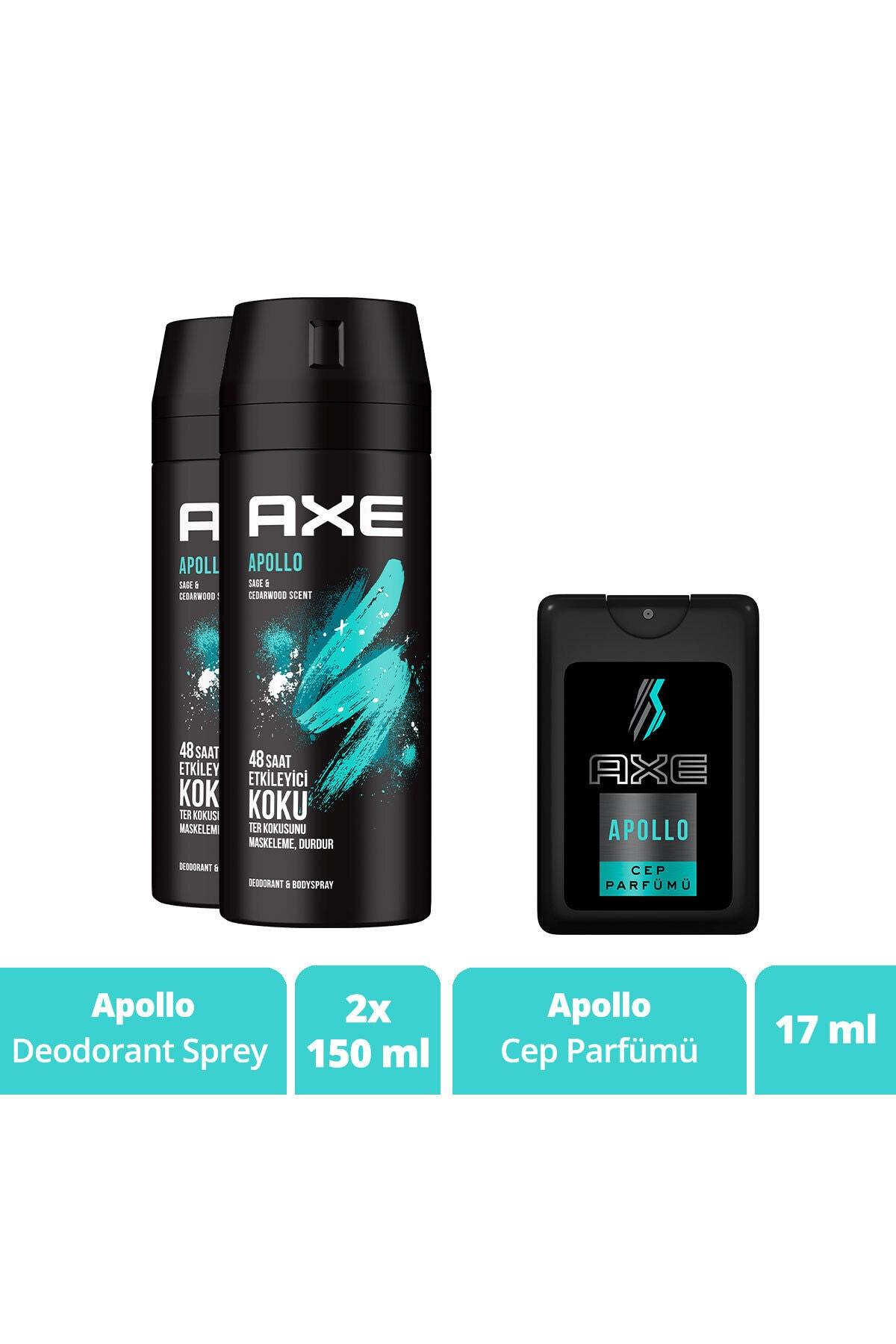 Axe Apollo Erkek Deodorant Sprey 150 ml x2 + Cep Parfümü 17 ml 2