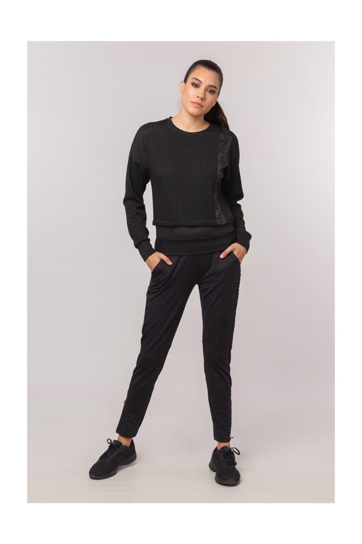 bilcee Siyah Simli Kadın  Sweatshirt EW-3025 2