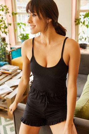 Olalook Kadın Siyah Askılı Fırfırlı Pijama Takımı