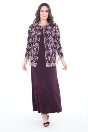 Ladies First Büyük Beden 2652 Patlıcan Elbiseli Takım
