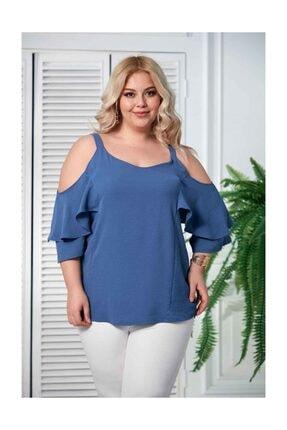 RMG Kadın Lacivert Omuz Askı Detay Büyük Beden Bluz