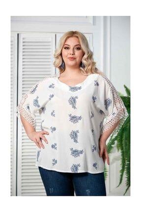 RMG Kadın Beyaz Kol Dantel Detaylı Büyük Beden Bluz