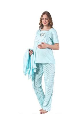 BOYRAZ Hamile Pijama Takımı Emzirmeli Sabahlıklı Kısa Kol 3 Lü Takım 7103