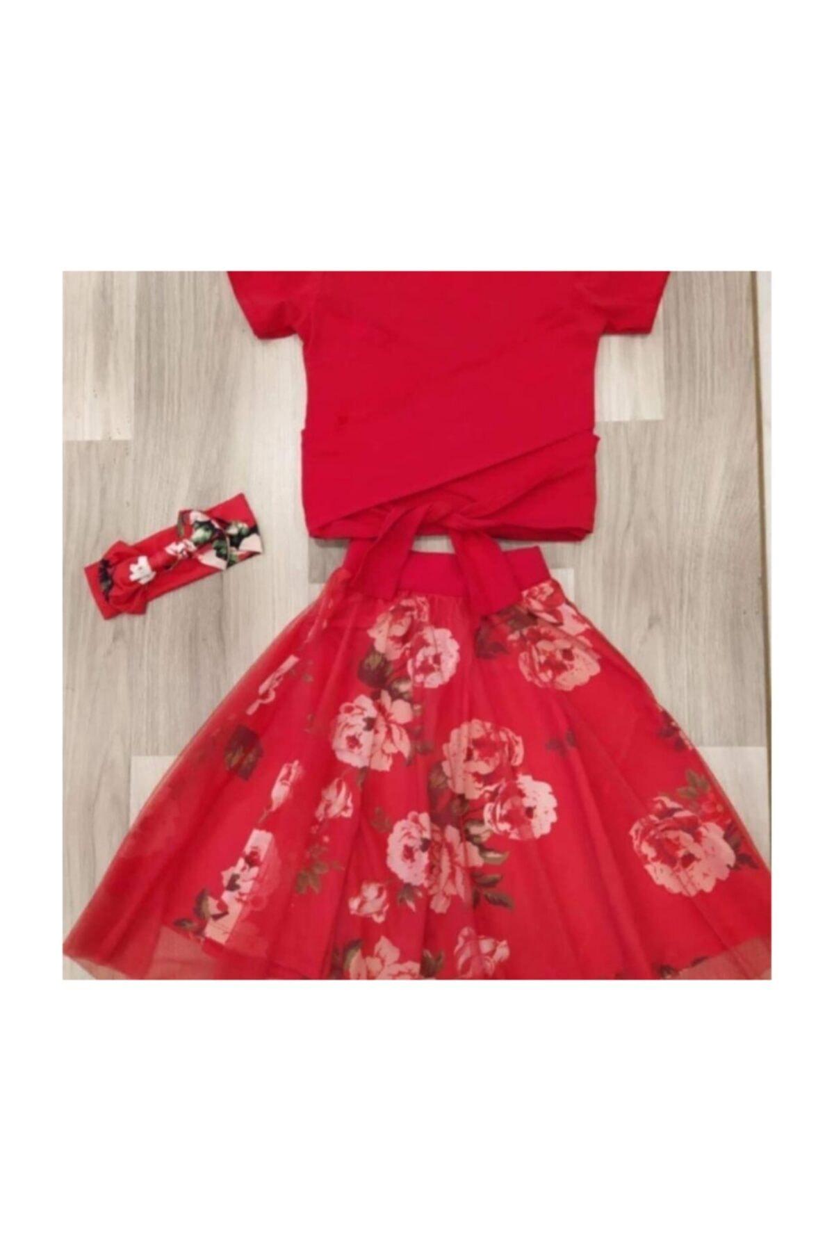 Evren Butik Kırmızı Etekli Çocuk Elbise 1