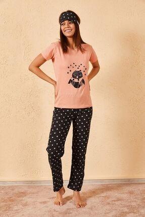 Zafoni Kadın Somon Renk Üçlü Pijama Takımı