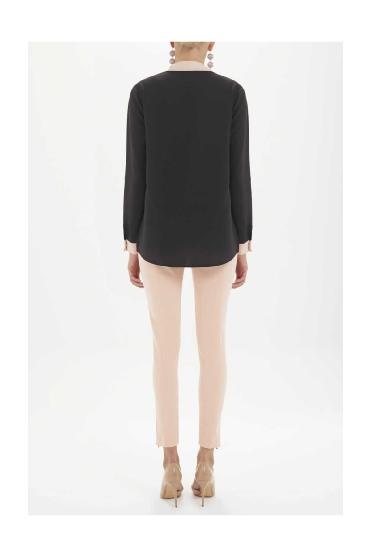 SOCIETA Kadın Kontrast Renkli Bol Kesim Bluz Siyah 19255 M03141019255101 2