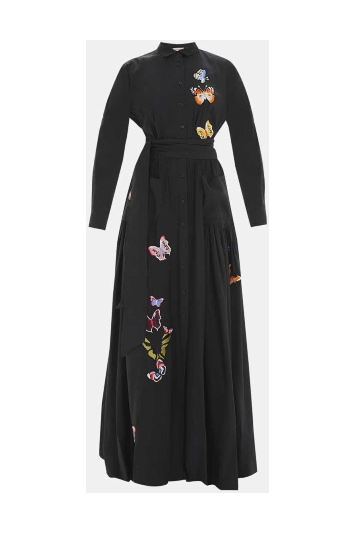 SOCIETA Kadın Nakış Ve Büzgülü Gömlek Elbise Siyah 92562 M18191092562101 1