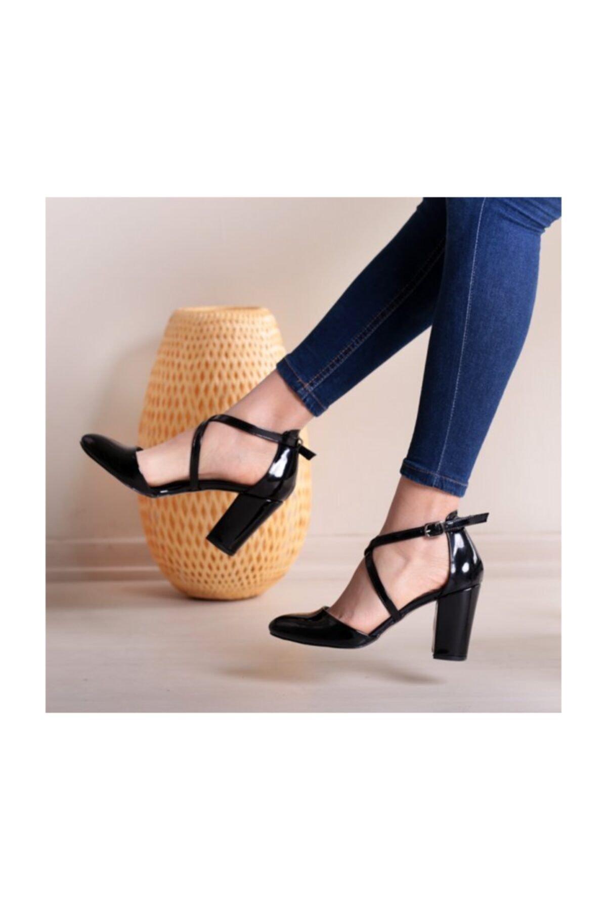 WoW Ayakkabı Siyah Rugan Kadın Sandalet 2