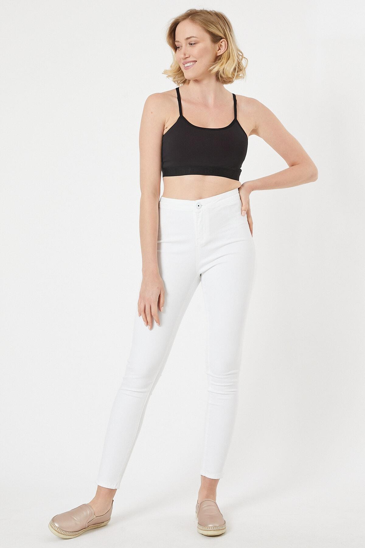 EEL JEANS Beyaz Renk Kadın Tayt Pantolon 1
