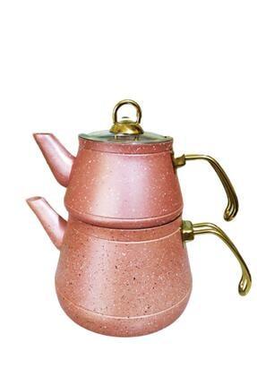 Remetta Pembe Granit Aşiret Boy Çaydanlık Gold Kulp