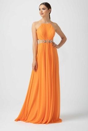 SEÇİL Kadın Oranj Halter Yaka Şifon Abiye Elbise 2025